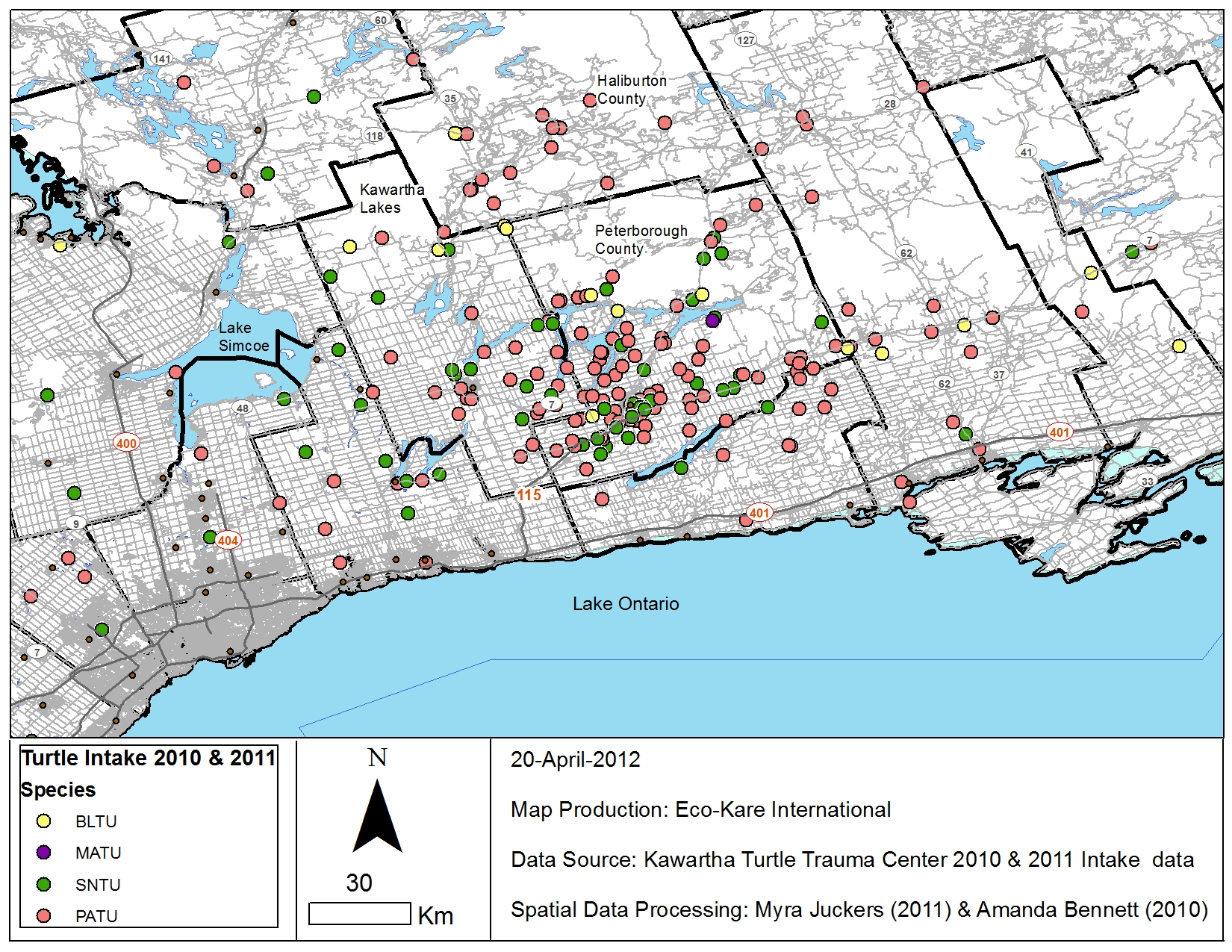 Map of the injured turtle locations in the Kawarthas