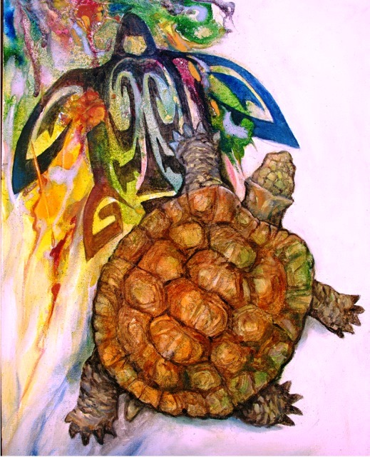 painting of a turtle and spirit